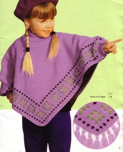 explication tricot poncho fillette gratuitement