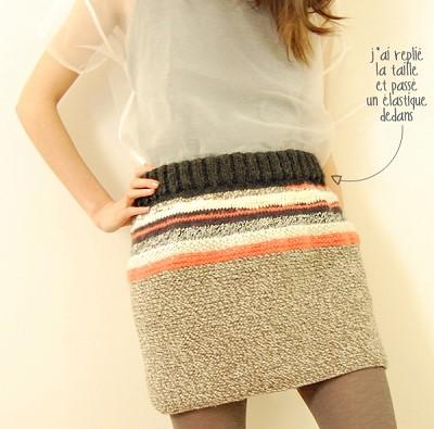 jupe en laine tricot