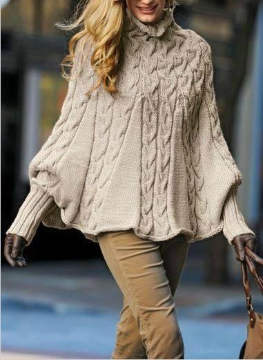 poncho femme a tricoter