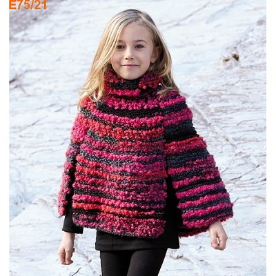 poncho tricot fille