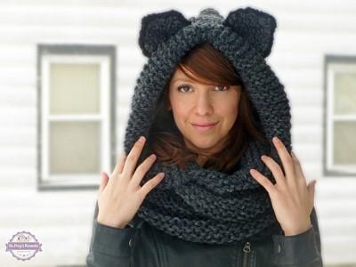 tricot echarpe capuche