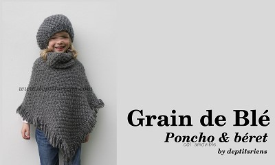 tricot poncho fille 4 ans